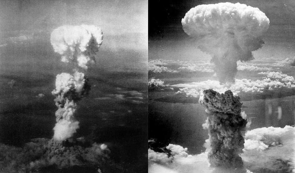 Two aerial photos of atomic bomb mushroom clouds, over two Japanese cities in 1945, Public domain